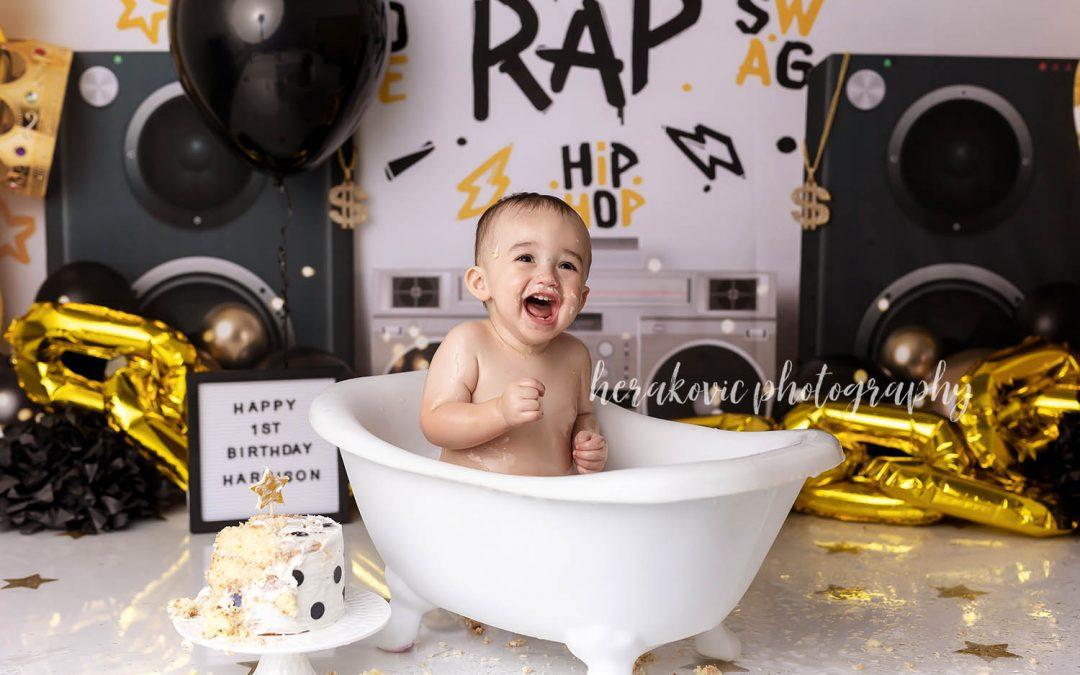 Harrison's King of Rap Cake Smash 1st Birthday session